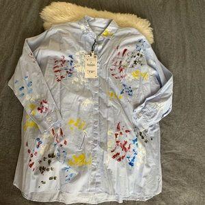 Zara Paint Splash Button Down Shirt